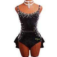 Latin Competition Dance Costumes vestiti balli latino bimba Performance Clothing Black Red Velvet Women Girls Salsa Latin Dress