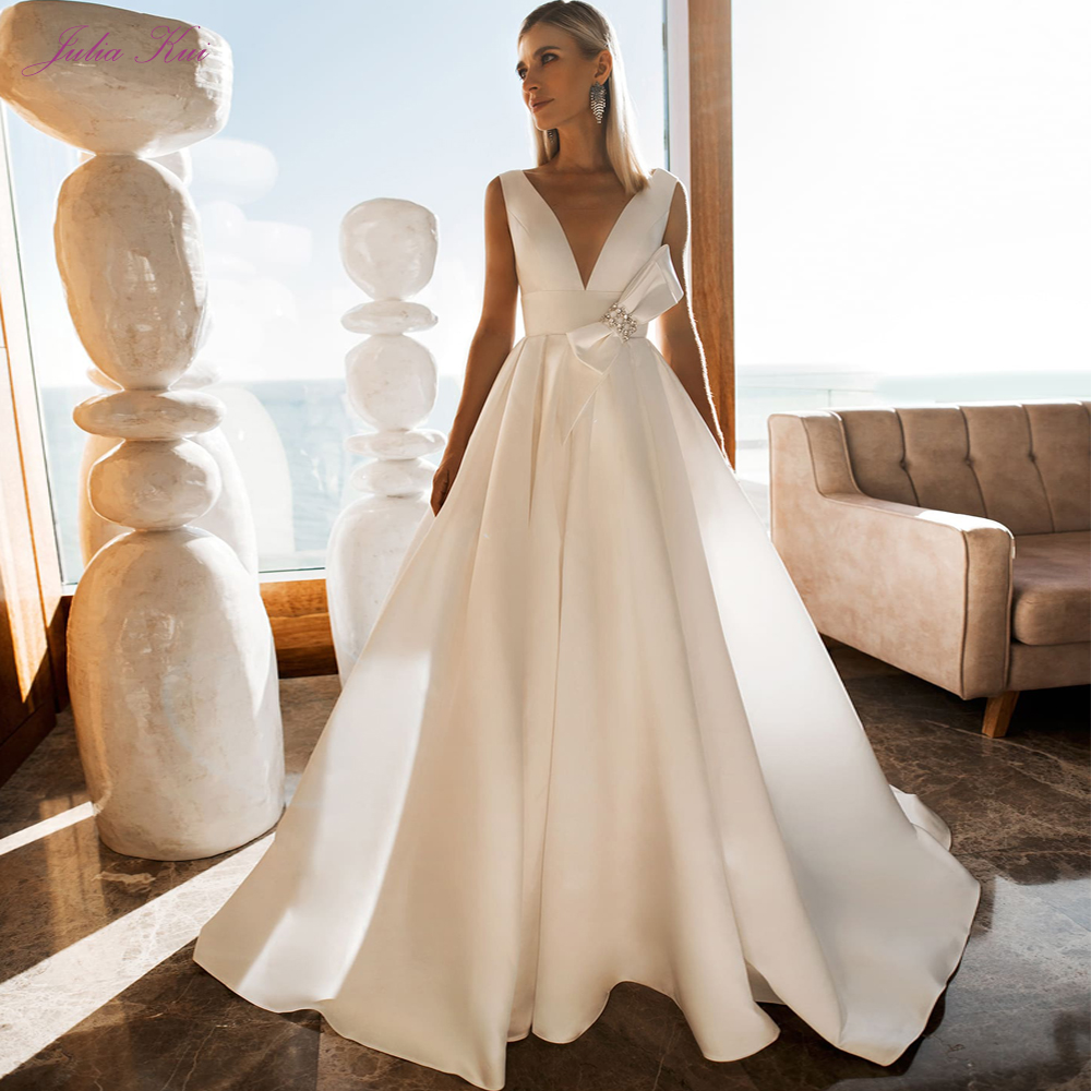 Julia Kui Deep V-Neckline With Illusion Tulle Of A Line Satin Wedding Dress Custom Made