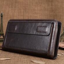 Мужской клатч Portomonee на молнии с ручкой, Длинный кошелек из натуральной кожи для мужчин/кошелек для мальчиков, кошелек для документов