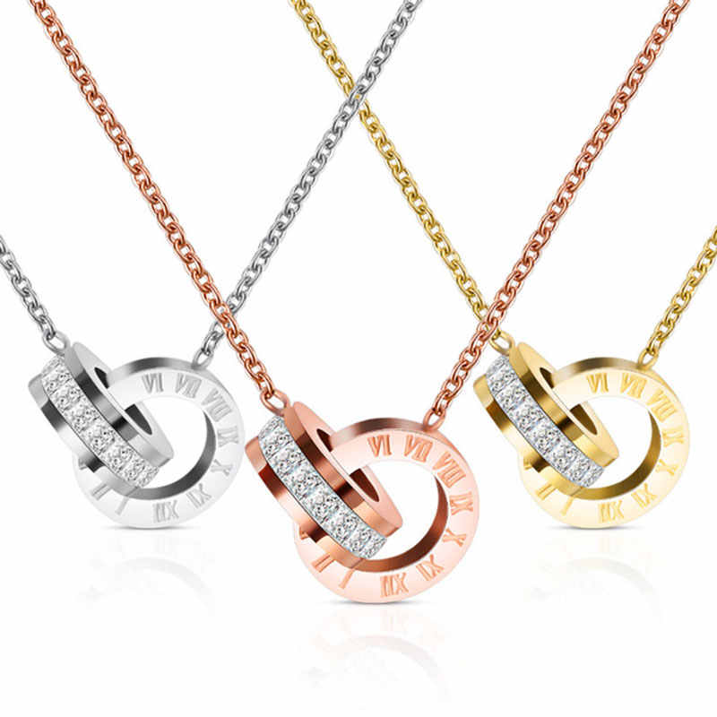 Fashion Top Merek Wanita Perhiasan Warna Angka Romawi Liontin Kalung 316 L Stainless Steel Perhiasan