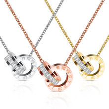 Fashion Top Brand Woman Jewelry Color Roman Numerals Pendant Necklace 316 L Stainless Steel