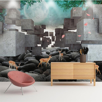 Beibehang 3d Wallpaper3D Stereo Square Sika Deer Relief TV Wallpaper Wallpaper Wallpaper For Walls 3 D