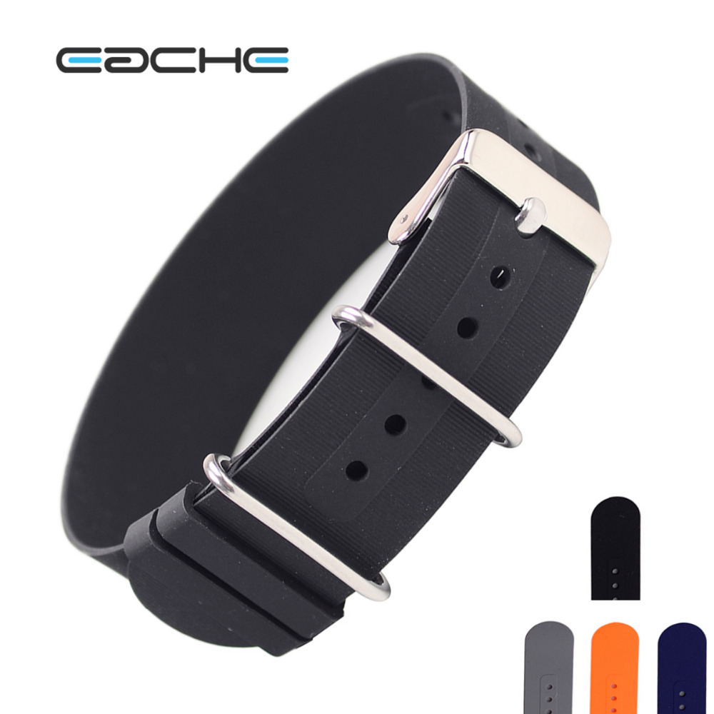 EACHE 18mm 20mm 22mm Silicone Rubber Nato Watch Band Black Blue Waterproof straps