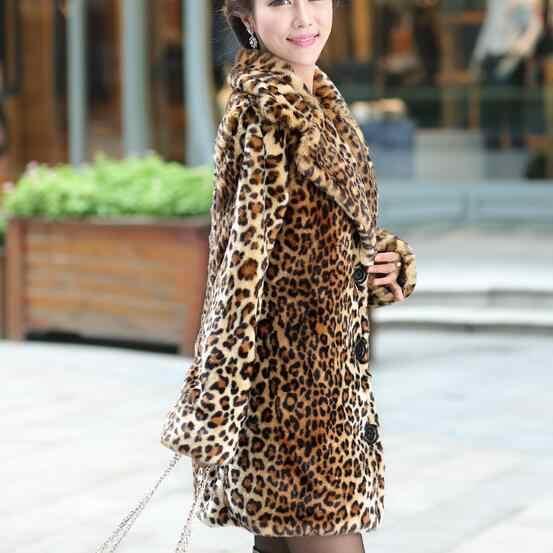Chaleco بيلو جديد الشتاء النساء فو الفراء معطف سميكة الدافئة ليوبارد معاطف وسترات الإناث الفراء سترة manteau فام hiver DF601