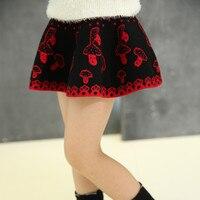New Korean Girls Hair Dress Children Body Princess Spring Winter Kids Skirt Mashroom Printing Wool Red