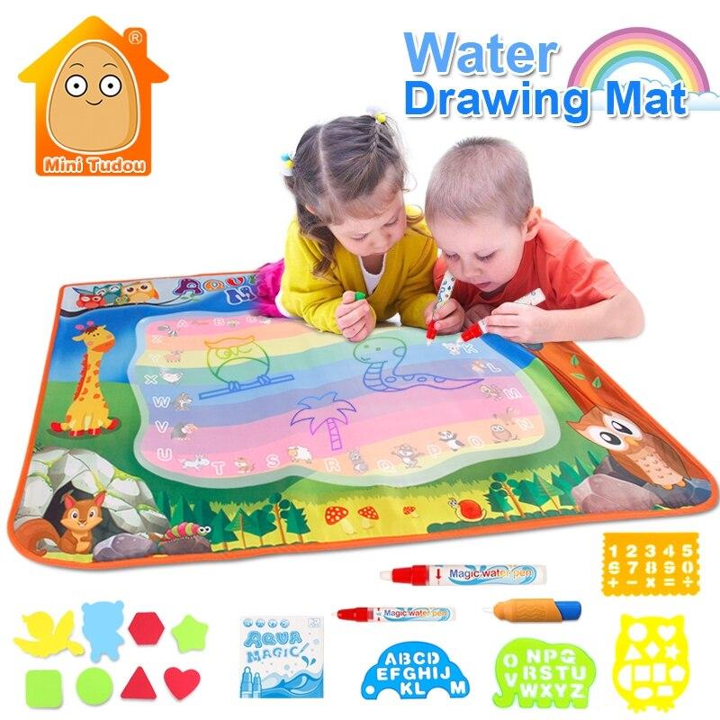 Juguetes Para agua 100*70 cm Doodle estera con 3 piezas jugar pluma de goma EVA artesanía agua mágica dibujo Aqua estera artes y manualidades para niños