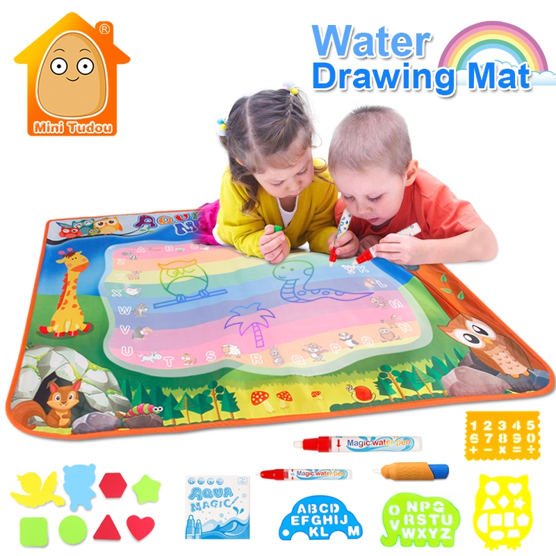 Water Toys 100*70CM Doodle Mat With 3PCS Play Pen EVA Rubber Crafts Magic Water Drawing Aqua Mat Arts And Crafts For Kids