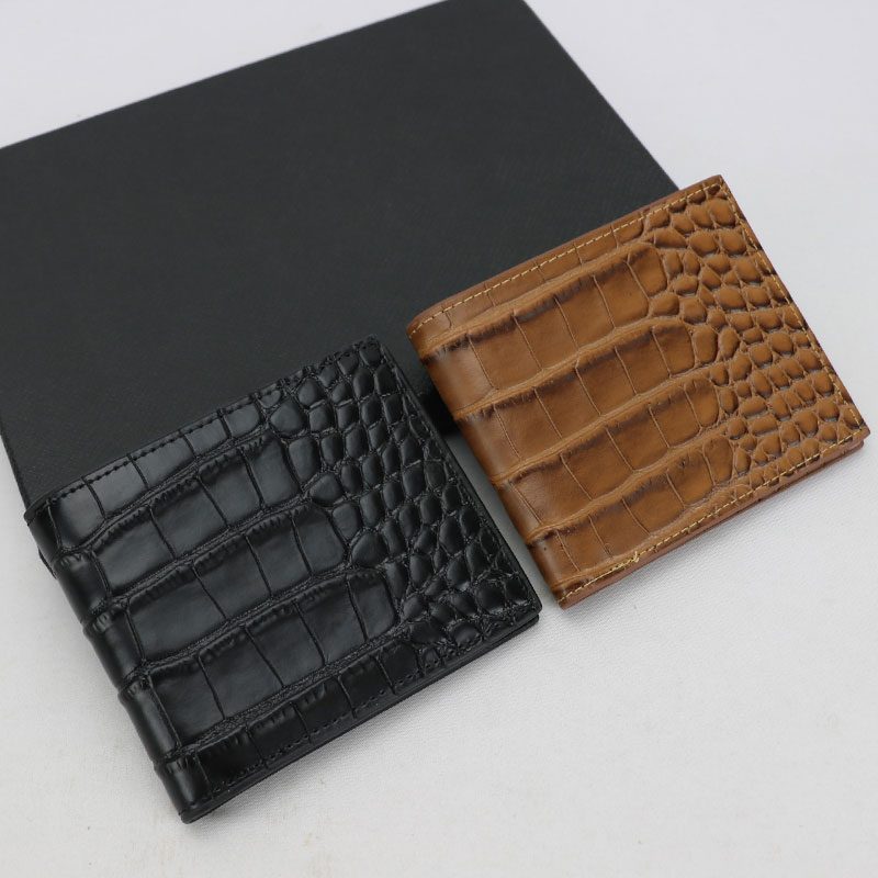 Wallet Male Purse Crocodile-Pattern Clip Card-Holder Money-Dollars Brown Black Genuine