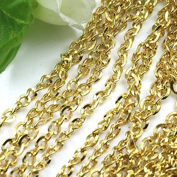 Free shipping!!!!100M/ DIY jewelry findings-Gold Plated 4*5mm Chain findings