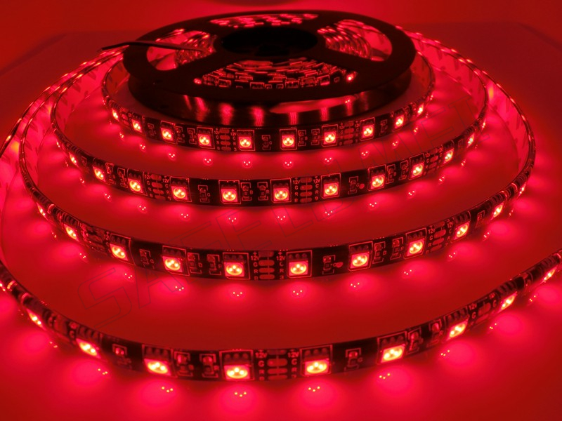 Free shipping 5m/roll 300LED Black PCB WaterproofIP65 5050SMD LED Flex strip DC12V 60leds/m Warm white/White/RGB led strip light