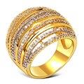 18 К Глод/Platinum Покрытием Полоса дизайн Установка AAA CZ Кольцо Для Женщин Большой Свадебный Партия Кольцо Бесплатная Доставка