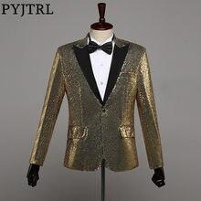 412c87ef PYJTRL Men Fashion Champagne Gold Silver Red Blue Black Sequins Paillette  Blazer Plus Size Club Bar Singer Slim Fit Suit Jacket