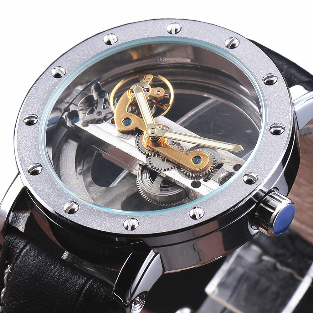 2016 New Fashion Single Bridge Movement Stylish Skeleton Business Watch Leather Band Mechanical Automatic Women Men's Wristwatch платье grey cat grey cat mp002xw1atqc