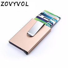 ZOVYVOL 2019 RFID Blocking Metal Wallet Men Women Card Holder Slim Aluminum ID Credit Case Money Travel Mini Automatic