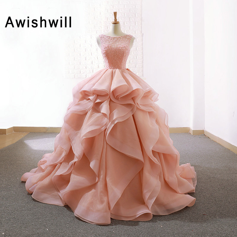 Gorgeous Long Prom Dress Scoop Neck Beading Lace Top Organza Puffy Ball Gown Evening Dress for Marriage Elegant Formal Gowns