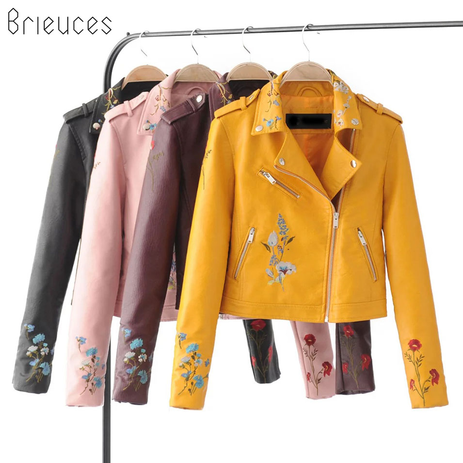 Brieuces Embroidery basic jacket coat outerwear & coats Black faux leather jacket women Short winter bomber jacket female coat
