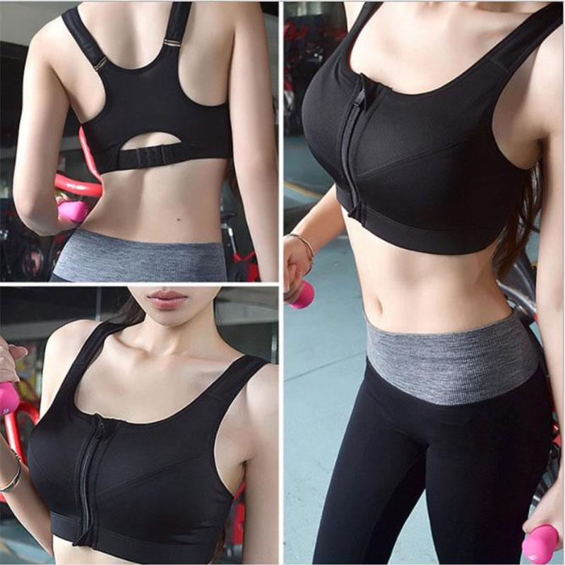 Push Up Sports Bra Zipper Padded black Running Women Seamless Plus Size TopFitne