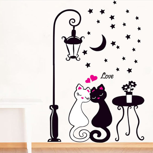 Hot Sale Black White Cats Wall Sticker Romantic Wedding Rooms
