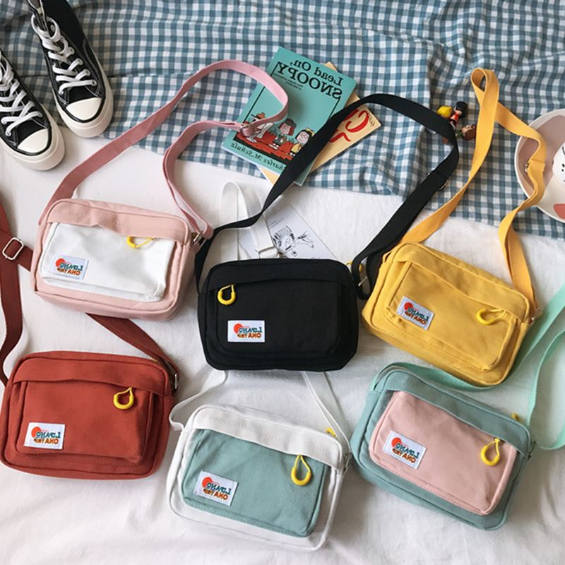 South Korea Ins Academy Girls Contrast Messenger Bag Female Student Arts Little Fresh Soft Sister Canvas Bag