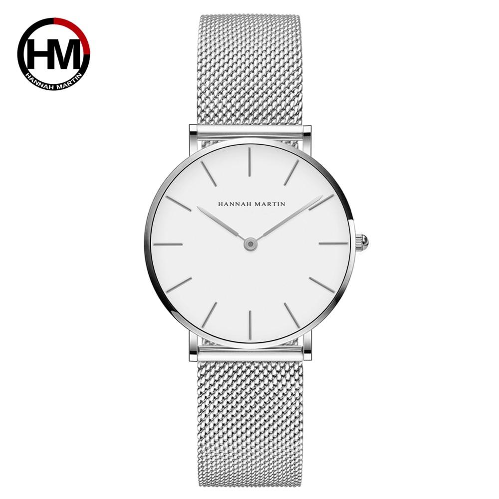 Las mujeres de la marca de lujo de Japón movimiento de cuero marrón de acero inoxidable plata Dial blanco impermeable relojes reloj femenino