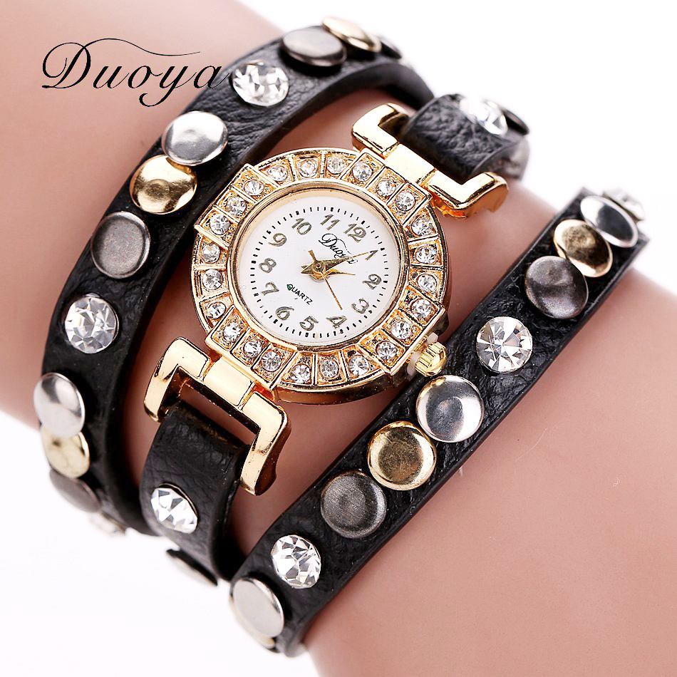 Fashion Rivet Punk Style Bracelet Watch Women Watches Luxury Diamond Women's Watches Leather Ladies Watch Clock saat reloj mujer