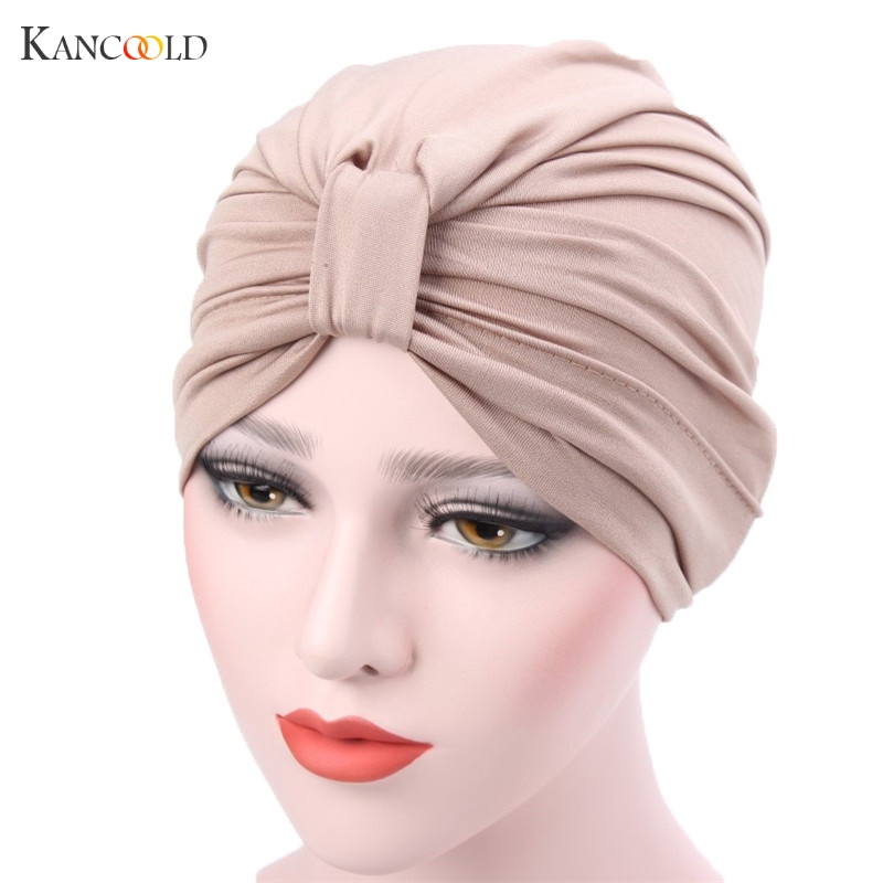 цена на Women Hat Beanie Hats for Women 2017 Scarf Muslim Stretch Hair cover Beanies Turban Head Wrap cap Keep ear Warm Chemo caps JY4A
