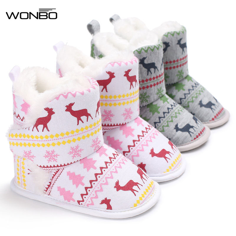 2017 Winter Baby Boots Crib Bebe Boy Girl Super Keep Warm Shoes Infant Toddler Newborn Prewalkers Christmas Reindeer Snow Shoes