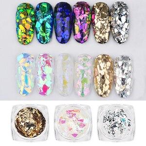 Image 1 - Lote de 6 caja/lote de pegatinas holográficas láser para uñas, con purpurina en polvo, hoja de decoración para uñas, pegatinas de papel de aluminio para las uñas