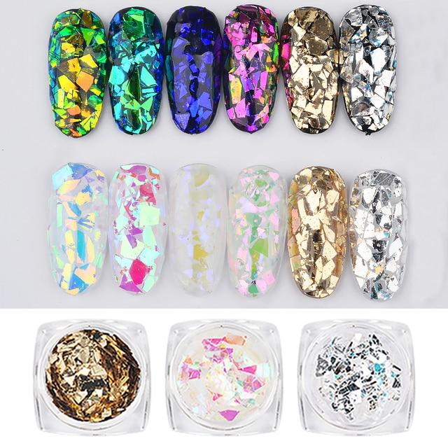 Lote de 6 caja/lote de pegatinas holográficas láser para uñas, con purpurina en polvo, hoja de decoración para uñas, pegatinas de papel de aluminio para las uñas