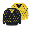 YN-714, skull, children boys cardigan, long sleeve spring V neck sweater outwear