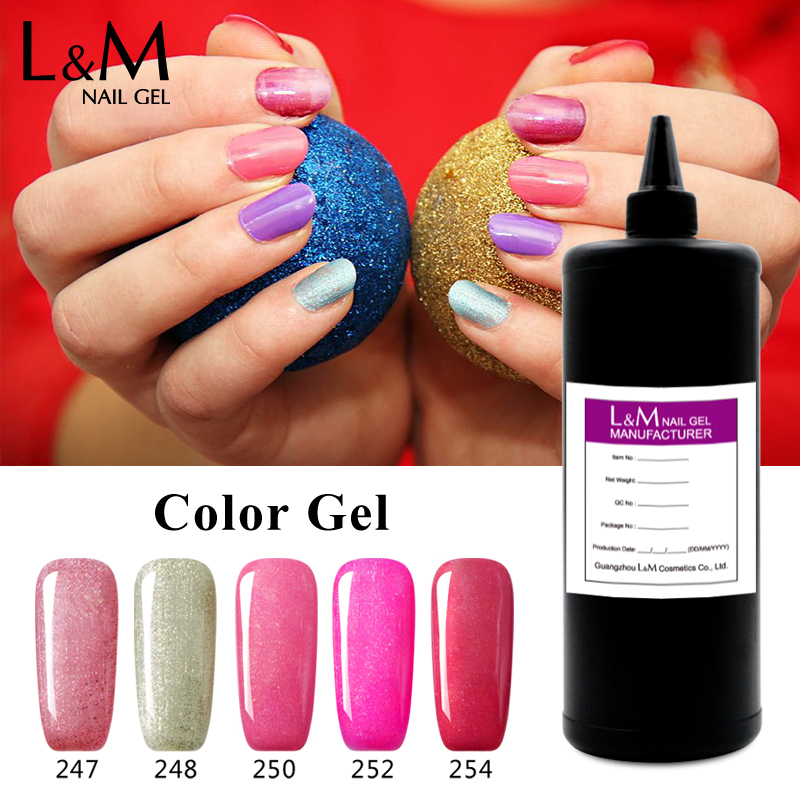 Bulk package Nail Gel colorful gel polish soak off uv gel lacquer Bright color bling gelpolish L&M in kg wholesale gel lak