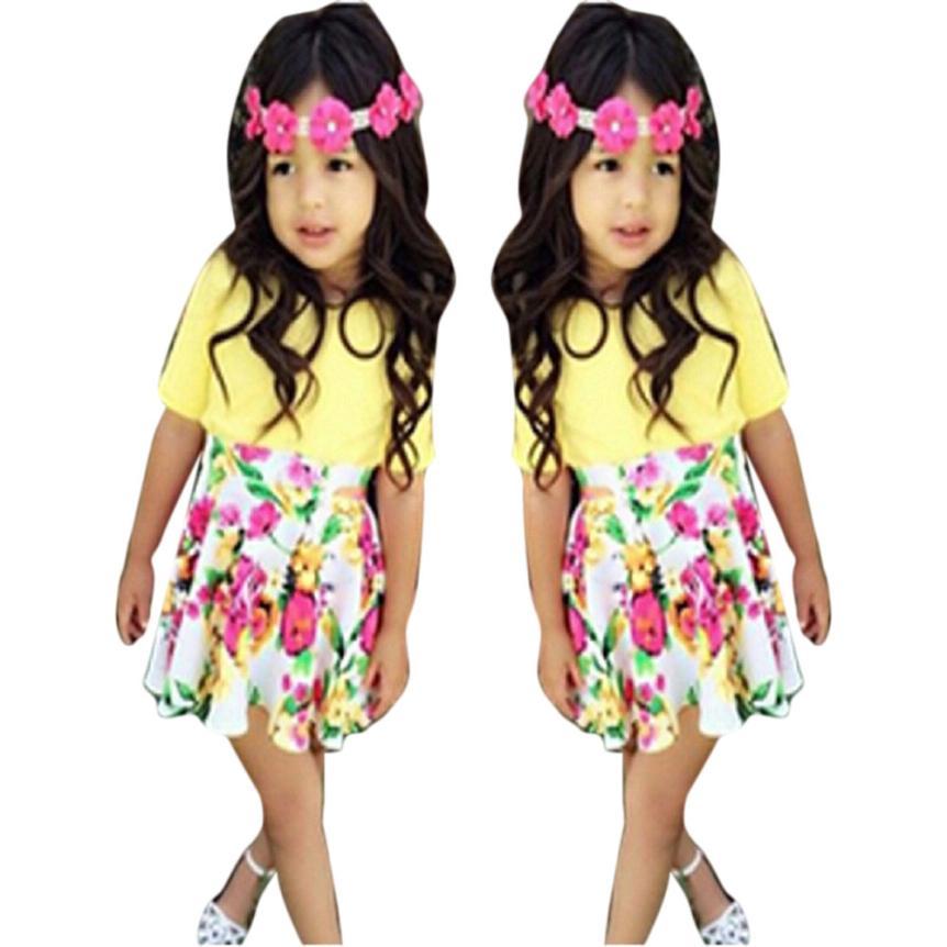 2017 Акция Цветочные Детские детское платье для девочки короткий рукав футболка + юбка Комплект одежды детские clothesmoda Infantil
