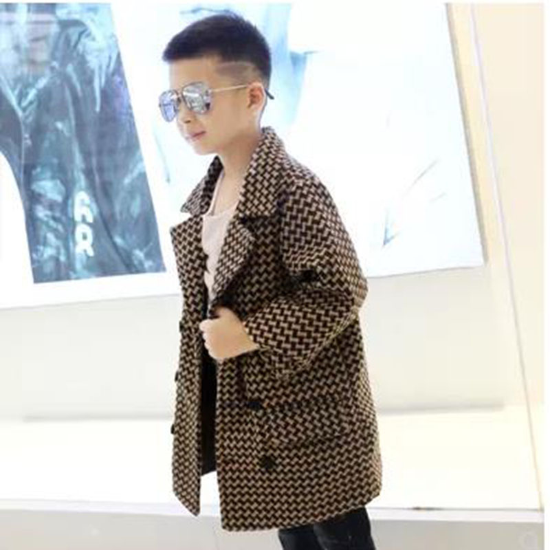 Autumn and winter boys fashion woolen coat quilted cotton houndstooth thickening tide baby woolen coat new Korean version autumn and winter new boys fashion plaid thickening elegant woolen coat double breasted woolen coat quilted cotton warm winter
