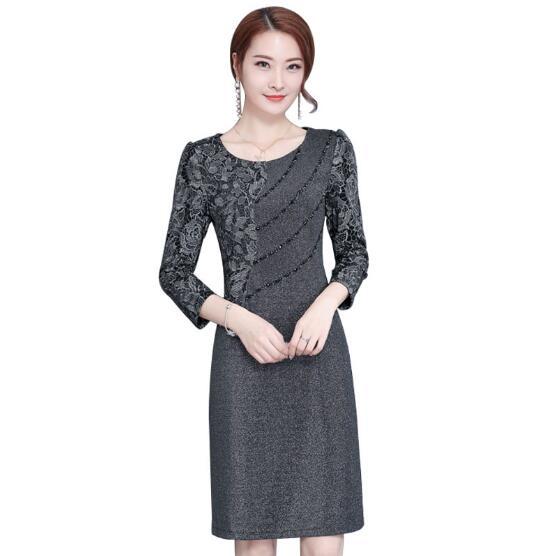 Clobee 2018 Autumn Spring Middle Aged Women Dress A Line Elegant Plus Size 4XL Ladies Dresses Wedding Party For Vestidos J2992