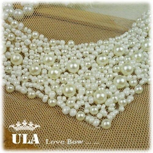Wholesale lace applique beaded 33*11cm DIY Decoration Lace Fabric Paste, collar,Decoraive Cloth Paste Lace Applique 2pcs/lot