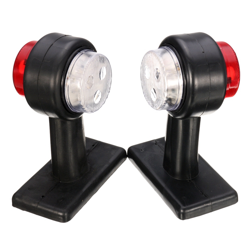 1 Pair Truck Trailer Side Marker External Lights Car Bus Lorry Led Indicator Light Side Lamp Red&White 12/24V