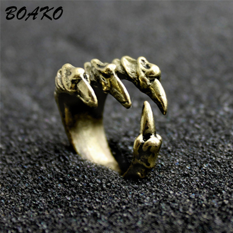 BOAKO Personalized Punk Rock Rings Stainless Steel Mens Biker Rings Vintage Gothic Jewelry Dragon Claw Ring anillo hombre in Rings from Jewelry Accessories