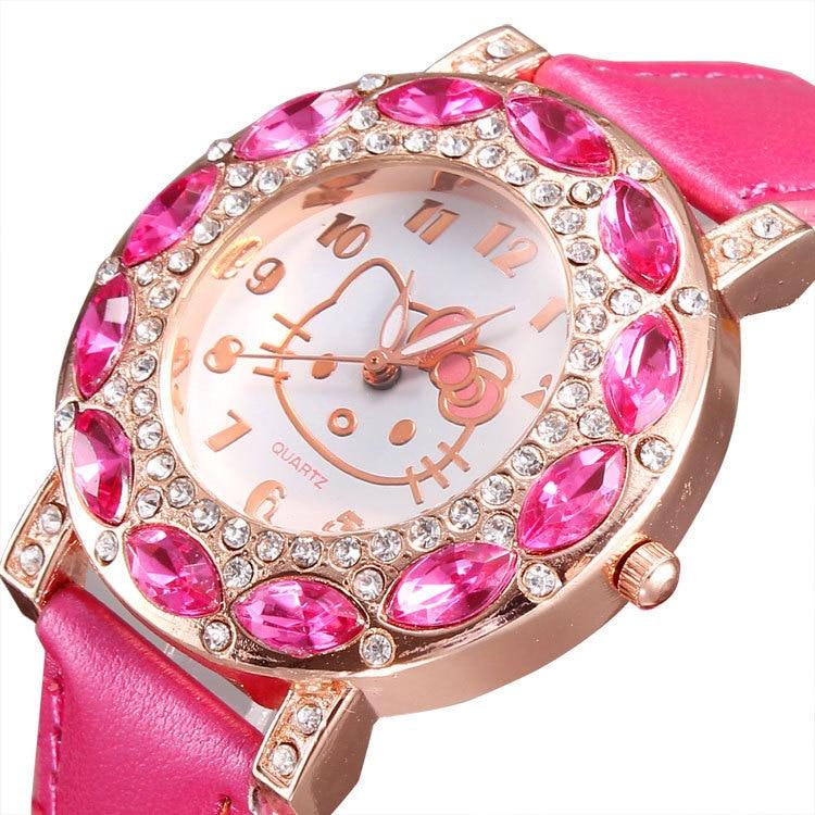 Top Fashion Brand Hello Kitty Kids Quartz Watch Children Girls Women Leather Crystal Wrist Watch Wristwatch Clock 8O37