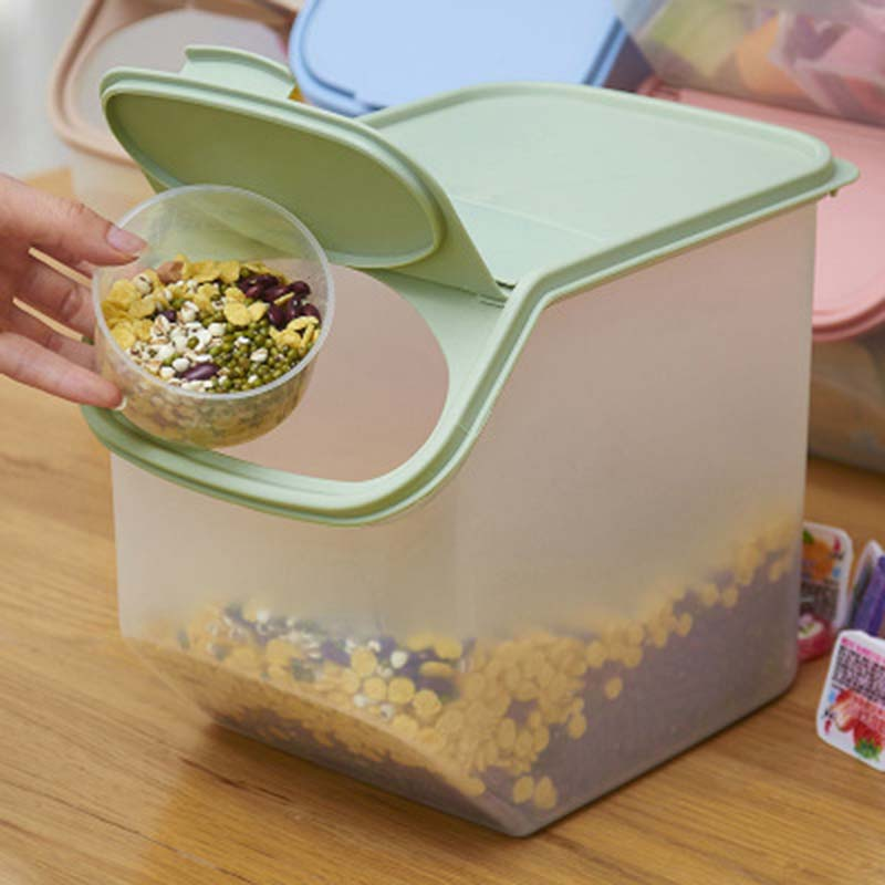 Kitchen Rice Fruits Storage Box Bucket Cereal Dry Food Keepers Container Spice Holders Sliding Lid with Measuring Cup 1pcKitchen Rice Fruits Storage Box Bucket Cereal Dry Food Keepers Container Spice Holders Sliding Lid with Measuring Cup 1pc
