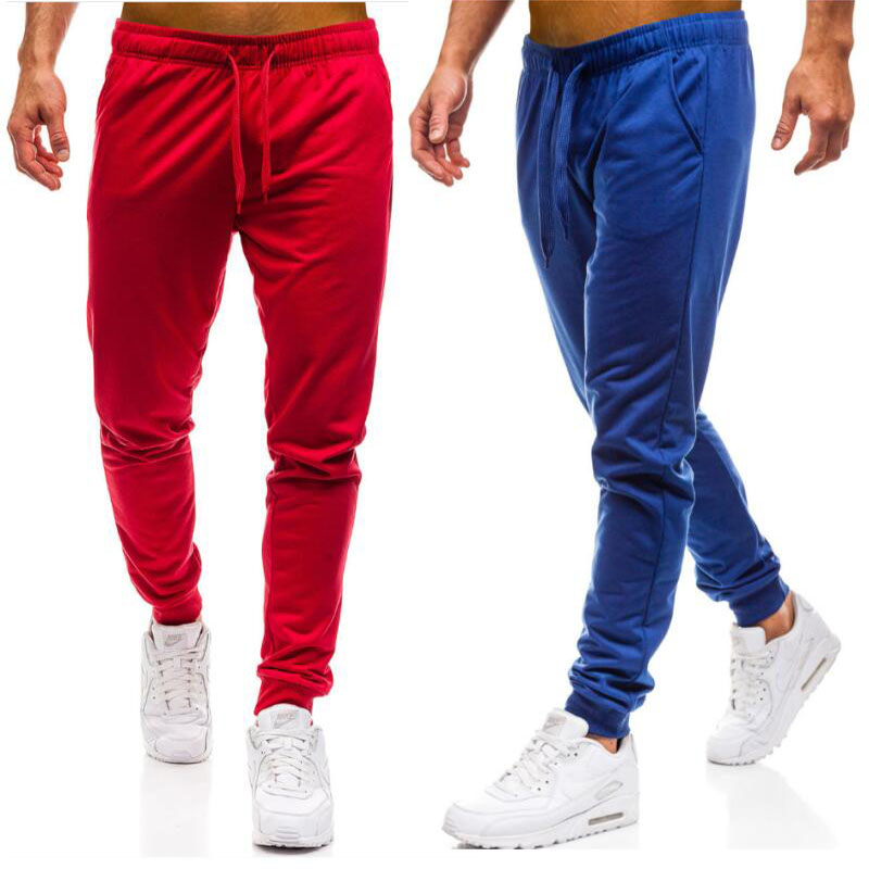 WSGYJ Men Joggers Elastic Waist Long Trousers 2019 Brand Fashion Casual Solid Color Fitness Workout Sweatpants Blue Red