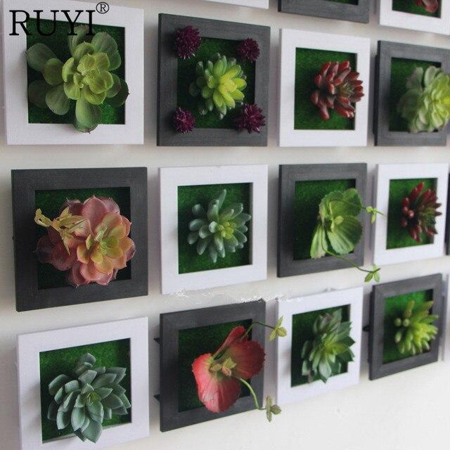 Blanco creativo 3D metope plantas suculentas imitación de madera ...