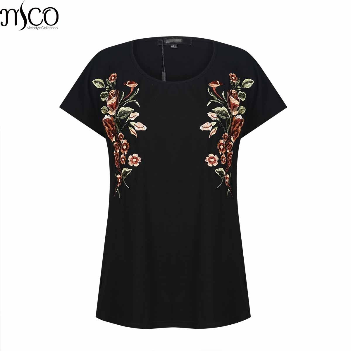 Mode Imprimé floral Plus La Taille De Base T-Shirt D'été Manches Courtes Simple Noir Femmes Vêtements Facile Surdimensionné Femmes de Top 5XL 6XL