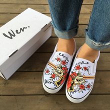 Wen Custom Original Hand Painted Shoes Design Revolver Gun Red Rose Flower On The Floral Vine Slip on White Canvas Sneakers