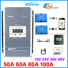 EPEVER MPPT контроллер солнечного заряда Tracer 100A 80A 60A 50A зарядное устройство регулятор панель солнечных батарей Tracer 5415an 5420AN 6415