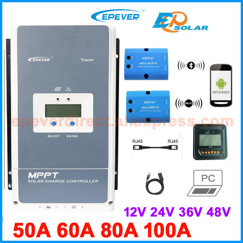 US $193 57 21% OFF|EPEVER MPPT Solar Charge Controller Tracer 100A 80A 60A  50A Battery Charger Regulator Solar cells Panel Tracer5415AN 5420AN 6415-in