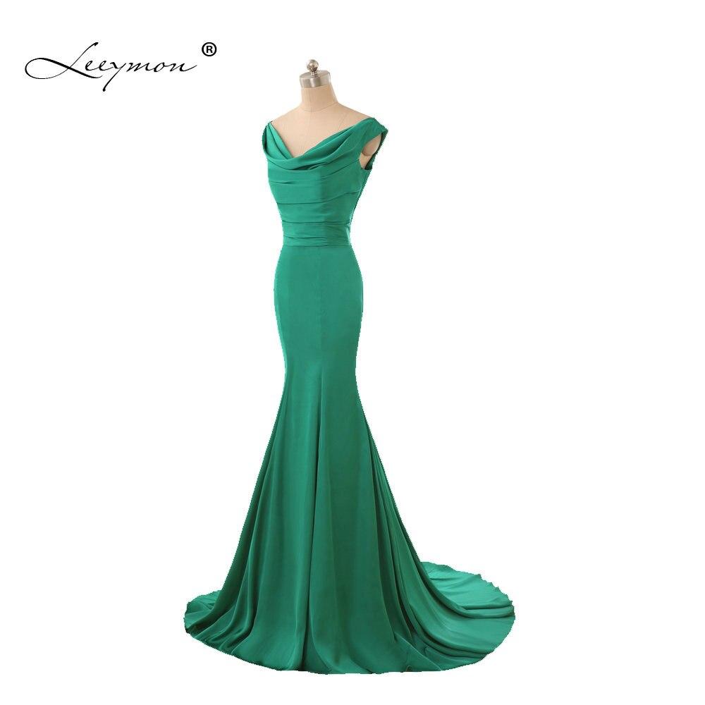 Leeymon Simple Green Mermaid   Bridesmaid     Dress   Elegant Cheap Wedding Party   Dress   Robe de Soiree A138