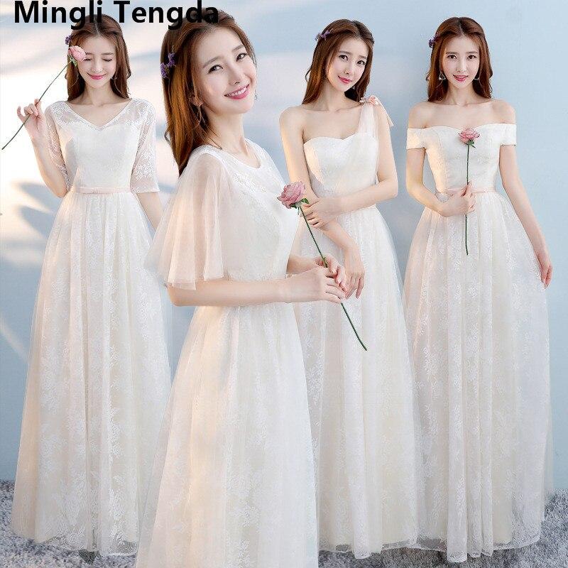 9de8971201c3 Vestidos de dama de honor de seis estilos faldas para Hermanas vestidos de  novia de hombro champán vestidos de dama de honor de encaje Mingli Tengda