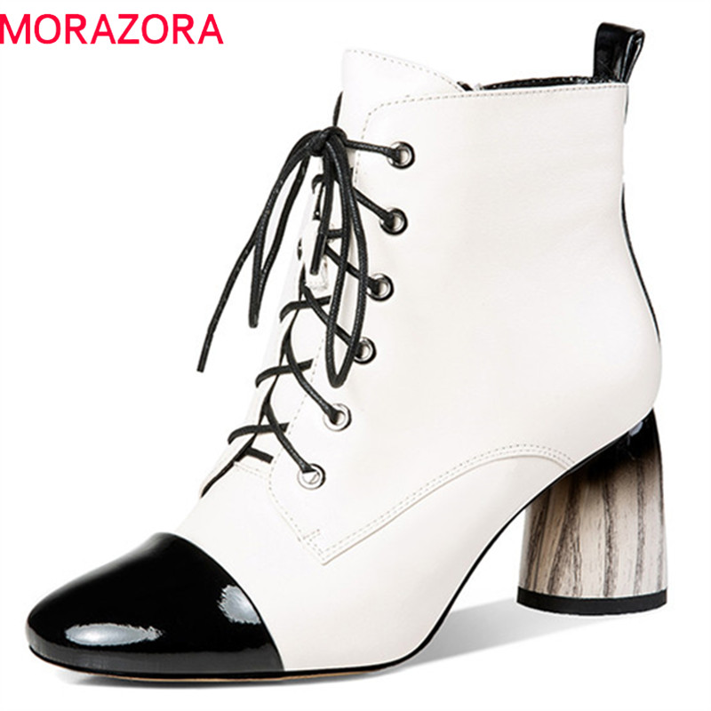 MORAZORA 2018 new arrival genuine leather ankle boots for women mixed colors high heels shoes zip +lace up autumn winter boots MORAZORA 2018 new arrival genuine leather ankle boots for women mixed colors high heels shoes zip +lace up autumn winter boots