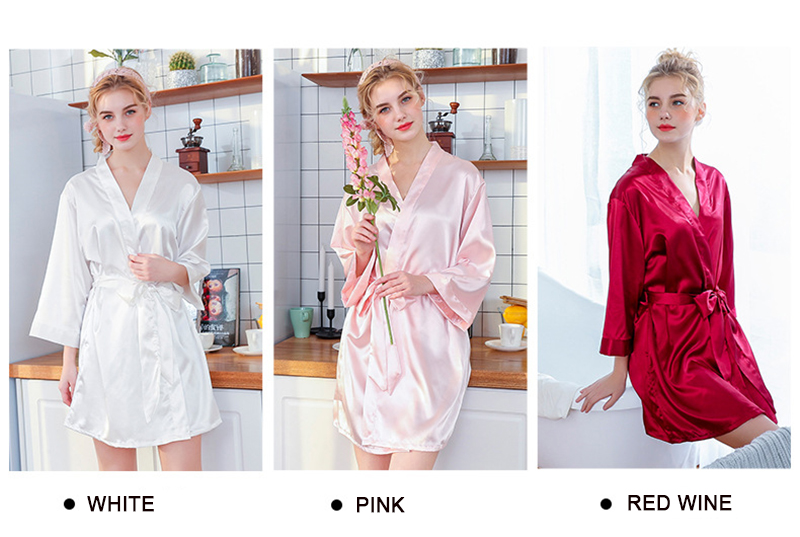 0d4a0f915a Silk Robe Female Sleepwear Bridesmaid Robe Wedding Kimono Robes Womens  Bathrobe Peignoir Embroidery Long Bride Satin Robes Women