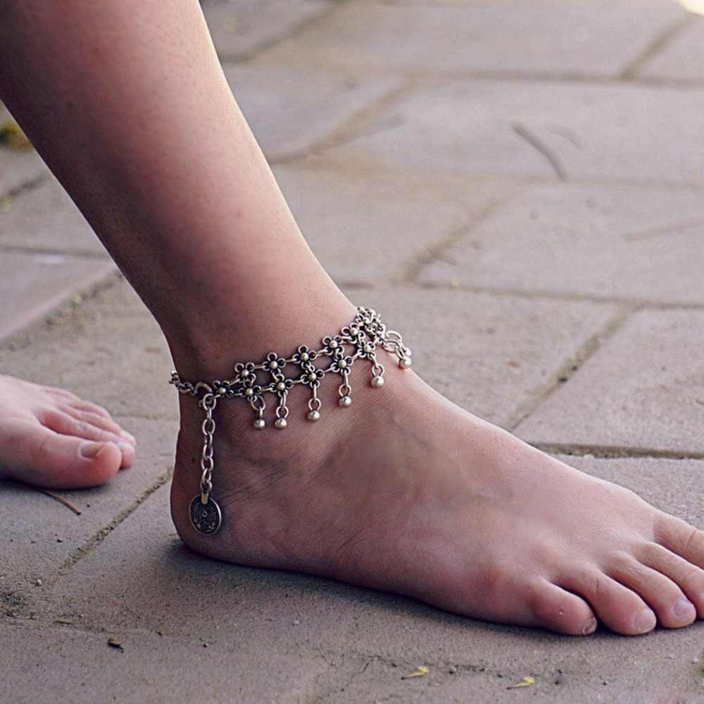 1 PC Boho Vintage Silver Ankle Bracelet Foot Jewelry Anklet For Women Girls Ankle Chain Indian Foot Chain With Bells joyeria